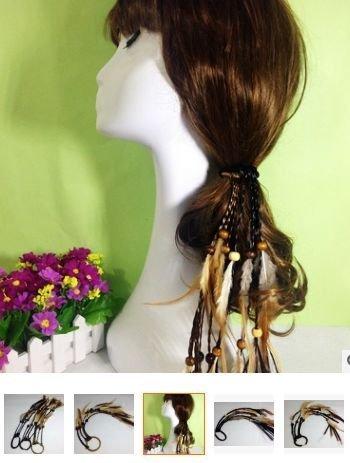 ★草魚妹★H506頭飾波西米亞印地安民族風手作羽毛串珠假髮編織流髮帶髮圈髮繩髮飾,售價100元