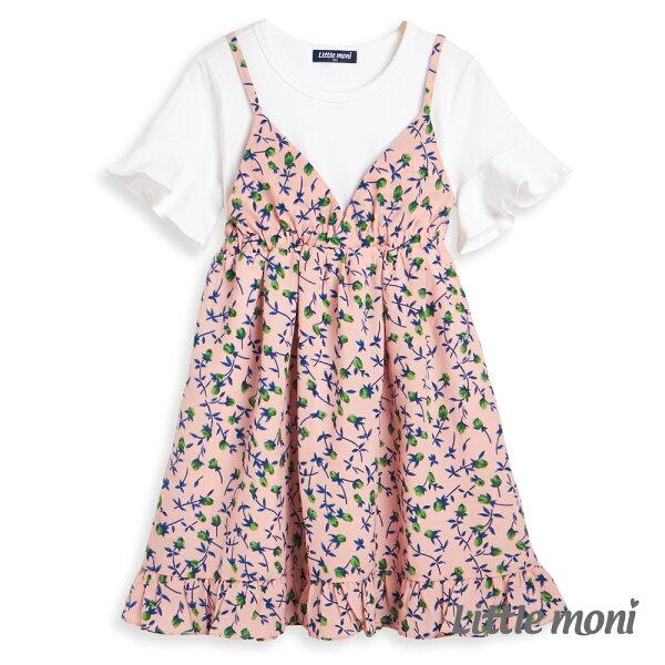 Littlemoni碎花假兩件式洋裝-粉紅