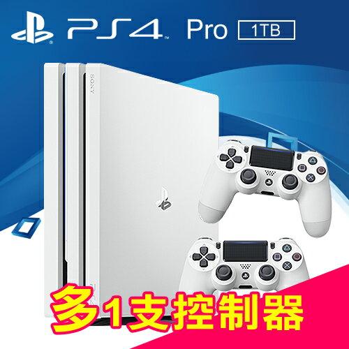 SONY PS4 PRO 1TB 主機(CUH-7000系列) 白+多1支控制器(白色)
