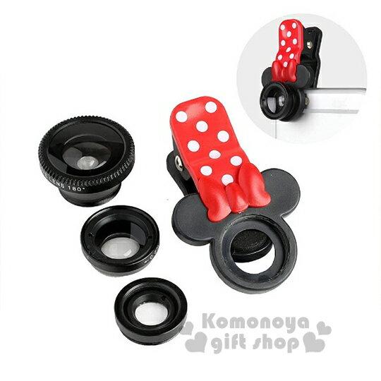 〔小禮堂〕Hemee x 迪士尼 米妮 手機廣角鏡頭夾《黑.大臉.紅點點夾》魚眼特寫廣角三種規格