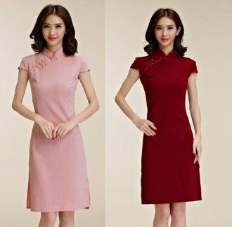 天使嫁衣【J2K9856】酒紅色中大尺碼復古包袖簡約修身短款旗袍˙現貨