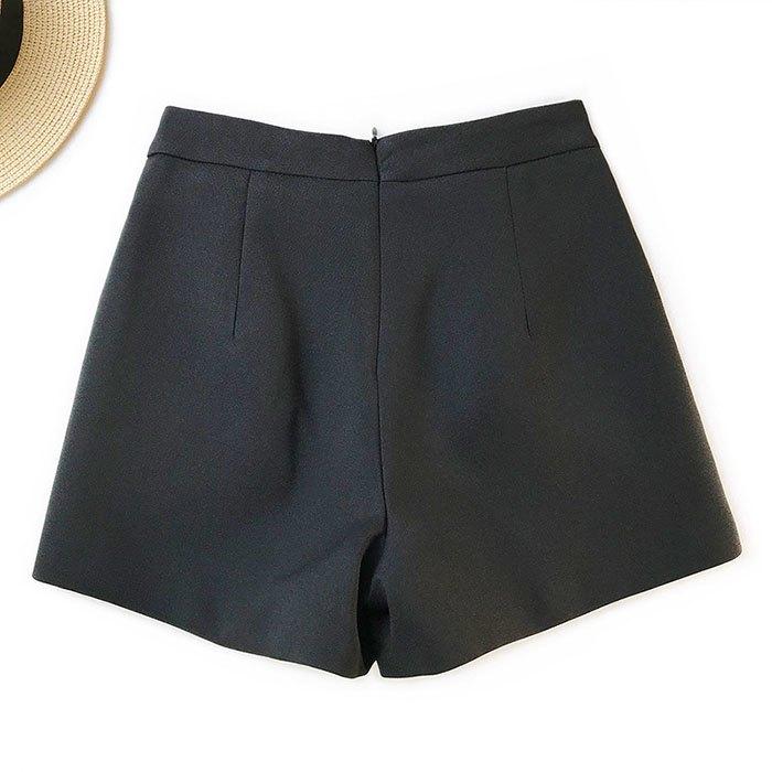 短褲 素色 金屬 裝飾 雙邊釦子 後拉鍊 寬管褲 百搭 短褲【HA855】 BOBI  02 / 14 7