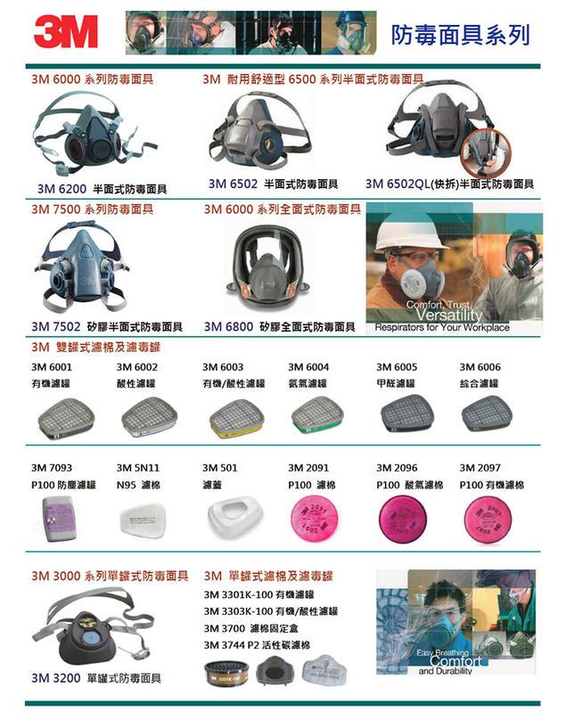 6200防毒面具 + 3M 6006濾罐 + 5N11濾棉+ 3M 501濾蓋 七件組