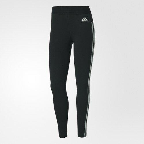 ADIDASEssentials3-Stripes女裝長褲緊身內搭訓練排汗黑白【運動世界】BS4820