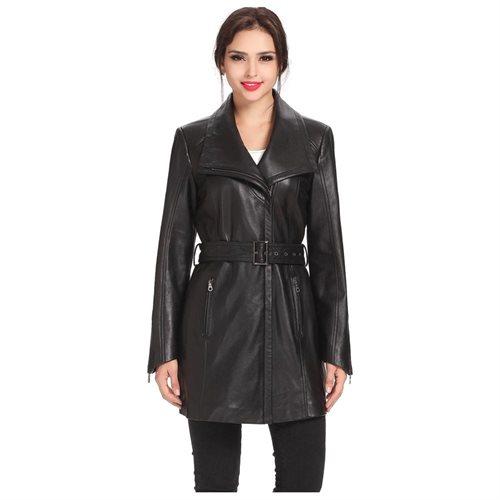 "BGSD Women's ""Fiona"" New Zealand Lambskin Leather Trench Coat 0"