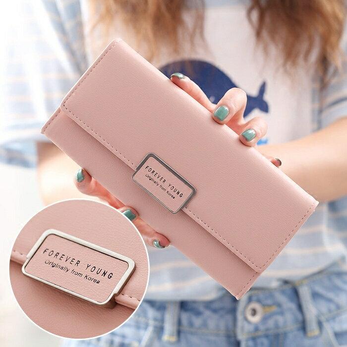 2021新款韓版女士錢夾招財原創簡約學生時尚日系手拿純色長款錢包