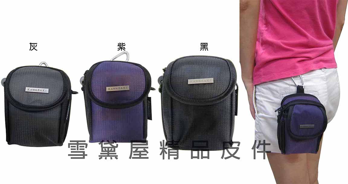 ~雪黛屋~KAWASAKI 外掛式腰包4.7吋裸機台灣製造品質保證 三用功能PDA袋 防水尼龍布材質 HAKI136