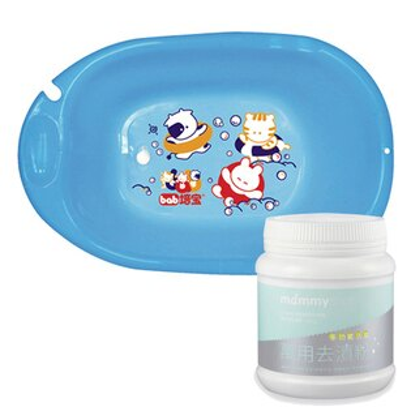 【奇買親子購物網】培寶bab嬰兒浴盆大+媽咪小站-MammyShop多功能活氧去漬粉450g