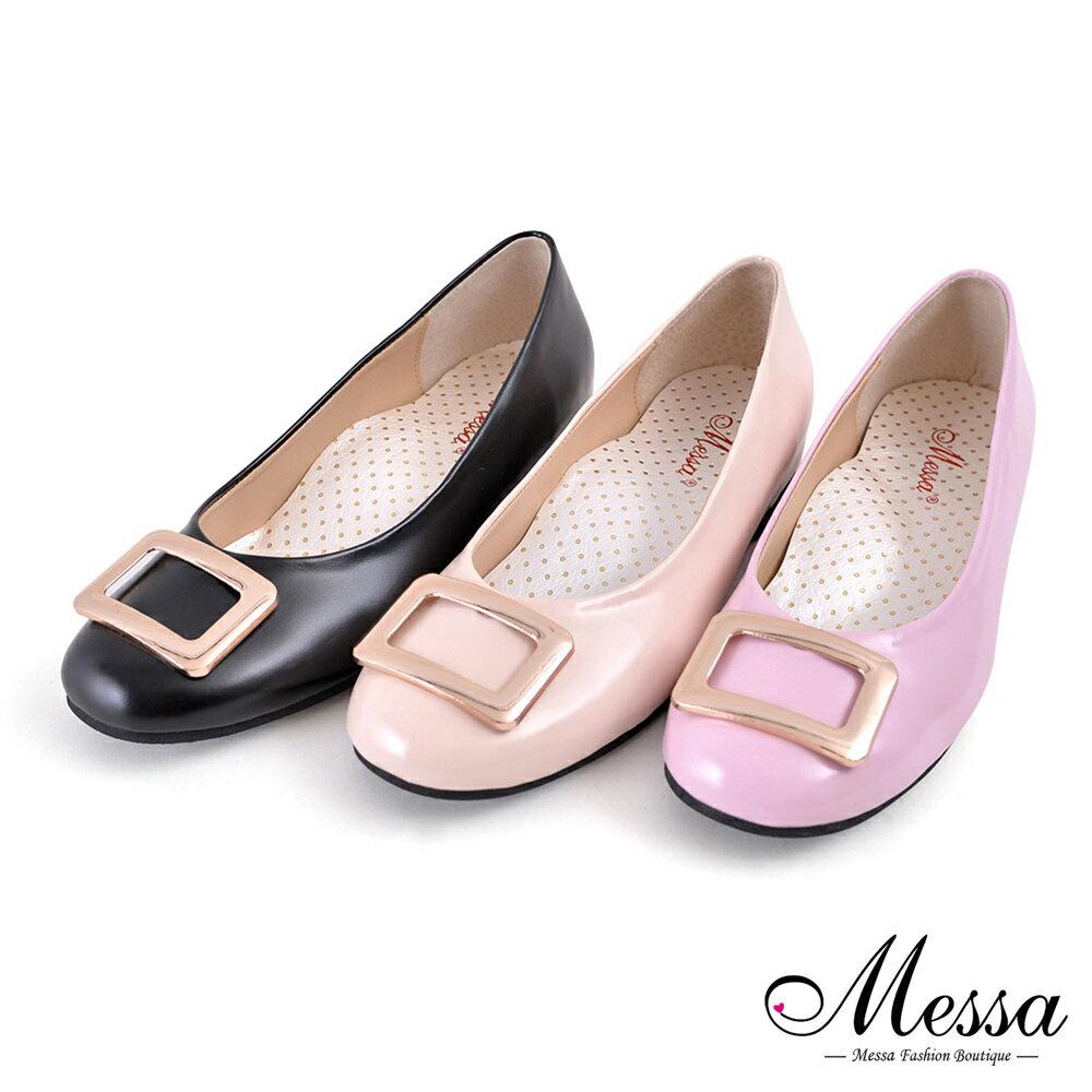 【Messa米莎專櫃女鞋】MIT 微甜女孩金屬方釦內真皮增高娃娃鞋-三色