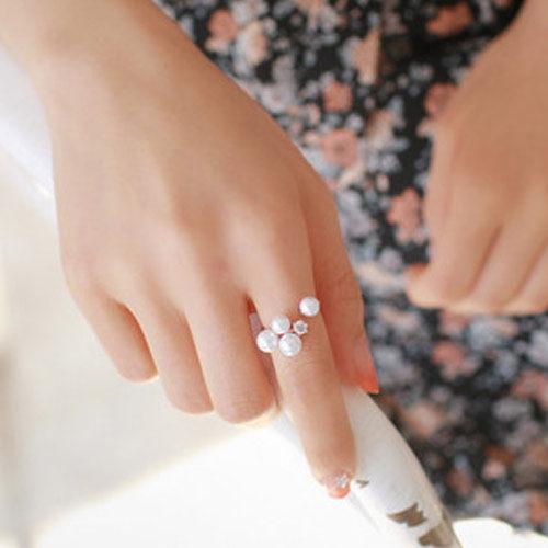 PS Mall 韓系唯美名媛氣質四顆珍珠水鑽戒指 指環~G1774~