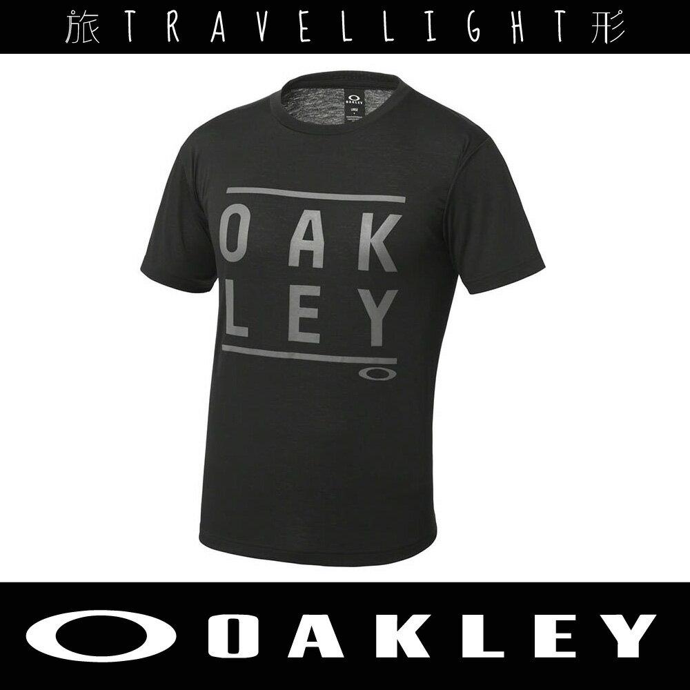 【Oakley】男短袖T恤 黑 456678JP-02E 吸汗快乾 Travellight旅形
