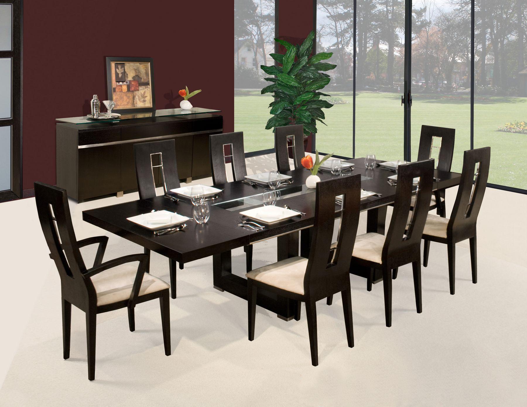 Novo Contemporary Dining Room Set In Brown 3