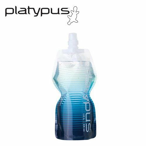 ├登山樂┤美國 Platypus SoftBottle 軟式運動水瓶1L-藍紋 # PLATY-09255