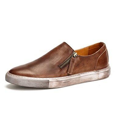 短靴真皮套腳靴子-個性擦色休閒百搭男靴2色73kk79【獨家進口】【米蘭精品】