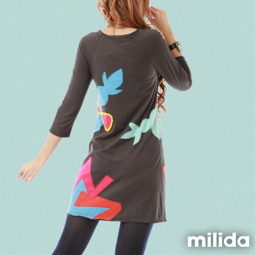 【milida】MMRYEA015☆貪睡女孩拼貼洋裝 3
