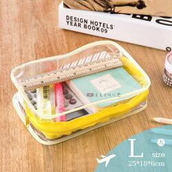 PVC透明L號防水盥洗包 洗漱包 化妝包 旅行用品收納包 化妝品 保養品 多色隨機【BJ003】99750走走去旅行