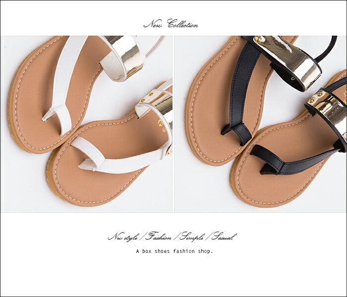 格子舖*【Ai191】MIT台灣製 夏季嚴選 金屬片釦環透氣皮革 套指夾腳涼鞋 2色 2