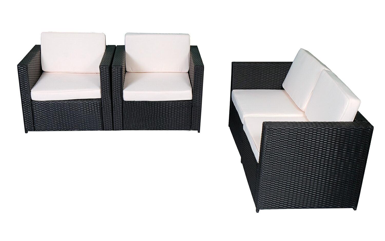 Mcombo 4pcs Black Wicker Patio Sectional Outdoor Sofa Furniture Set 6088 1005 A2 Cream