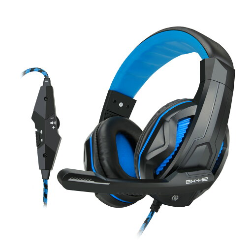 ENHANCE GX-H2 Computer Gaming Headset with Noise Isolating Ear Pads, Adjustable Mic, Mute Button, & Built-in Volume Controls - Braided Nylon Cable with 3.5mm AUX Microphone & Stereo Sound thumbnail