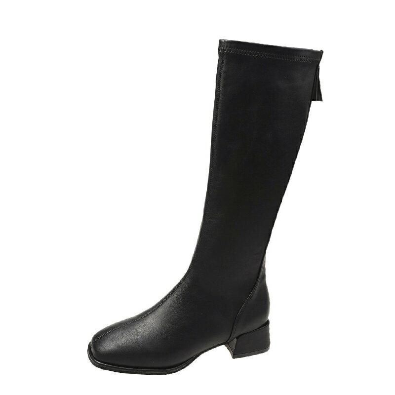 膝下靴 小個子長靴女不過膝高筒騎士靴春秋單靴粗跟皮靴網紅大碼長筒靴子『CM397282』