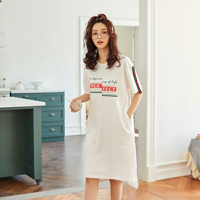 白色甜美短袖中長裙居家服- 純棉睡裙可外穿 M-XL【漫時光】(G073)  ▶99購物節 優惠碼:2009CP50 4