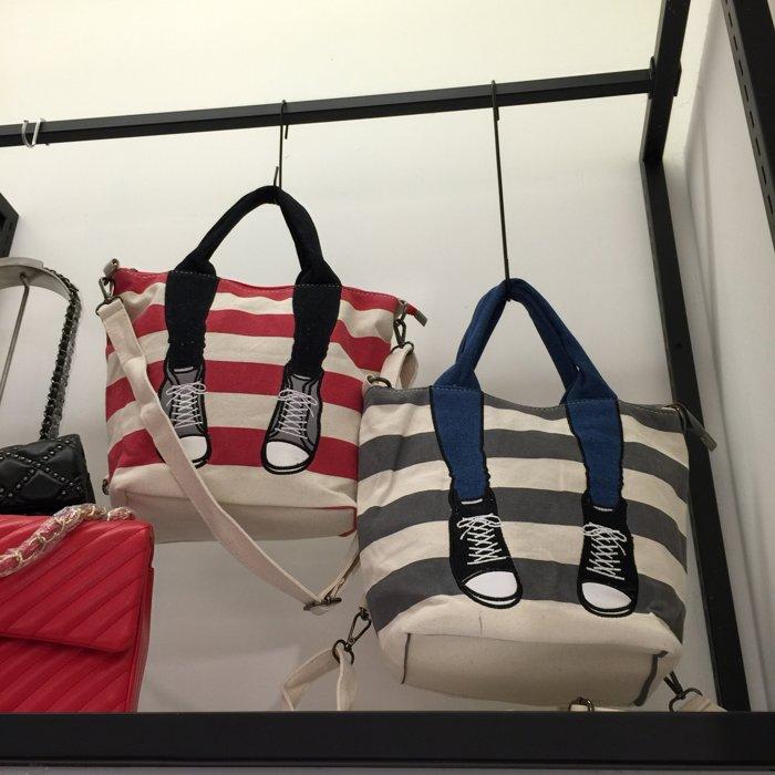 mis zapatos 翻玩 球鞋美腳 條紋帆布包 手提包 後背包 側背包 肩背包