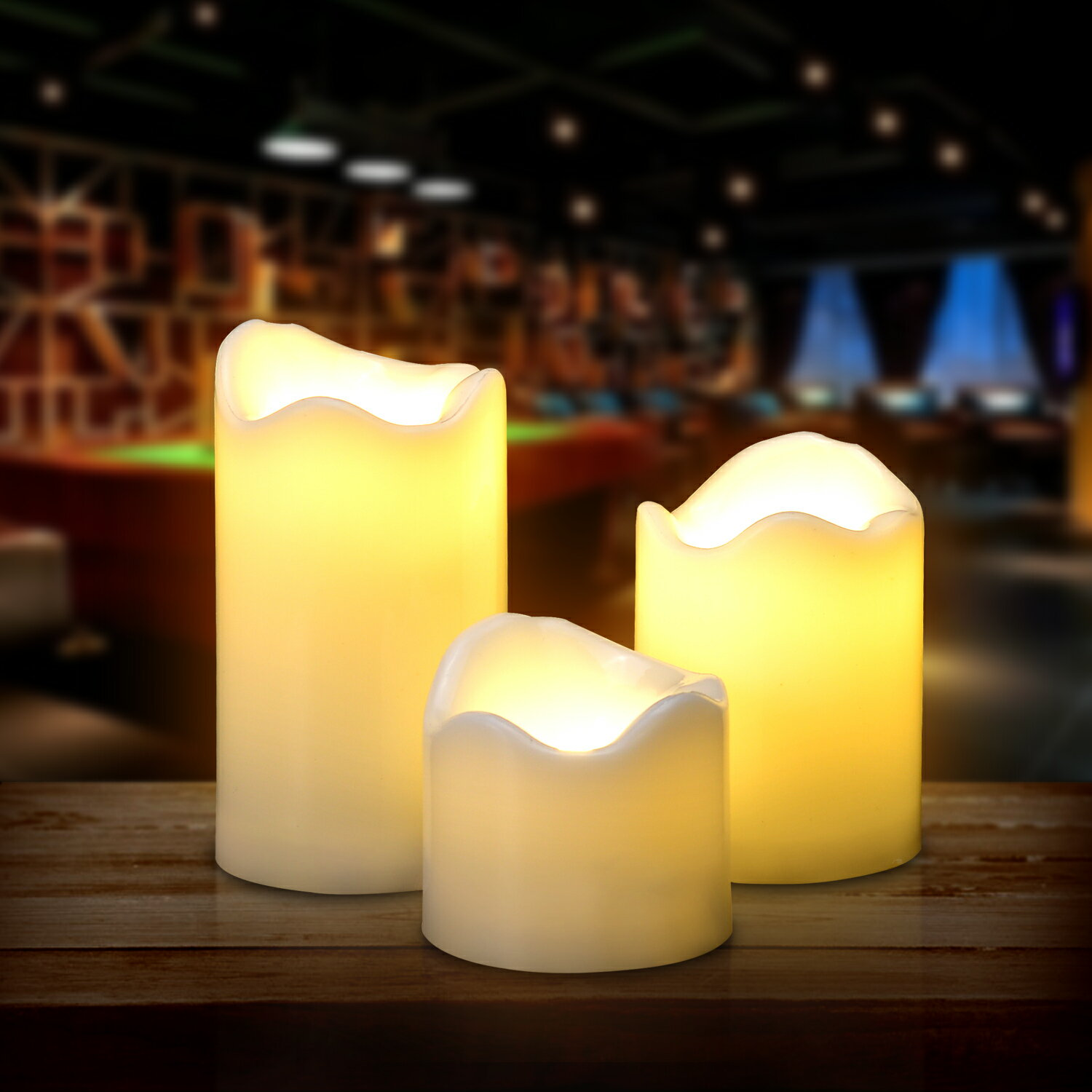 LED Candles Battery Operated Flameless Flickering smokeless 3 PCS/set Premium Votive Candles for Wedding/Party Decorations warm white 1