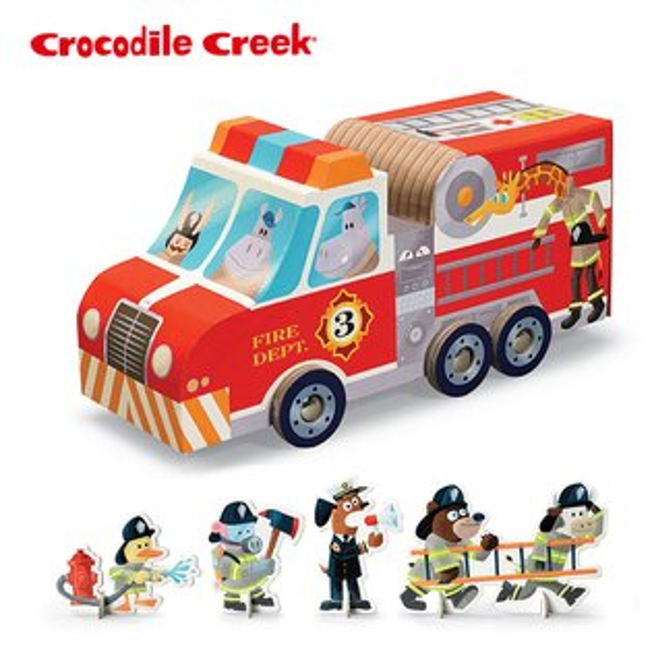 【美國CrocodileCreek】汽車造型拼圖玩樂組-消防局