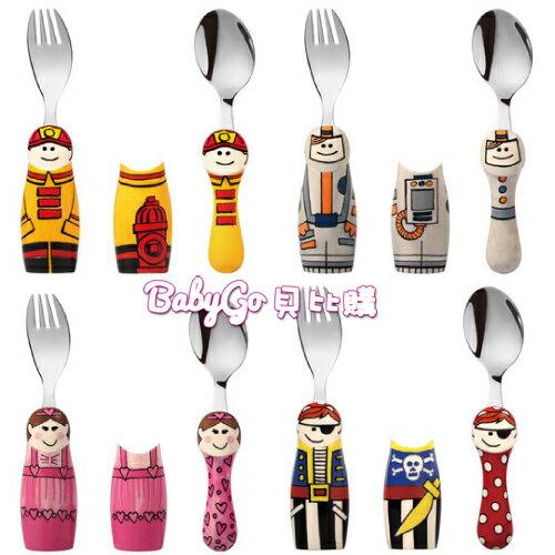 EAT 4 FUN 高品質316不鏽鋼兒童餐具DUOS 二人組(隨機出貨)+外出攜帶盒●叉匙組●太空人●海盜●芭蕾舞●消防員
