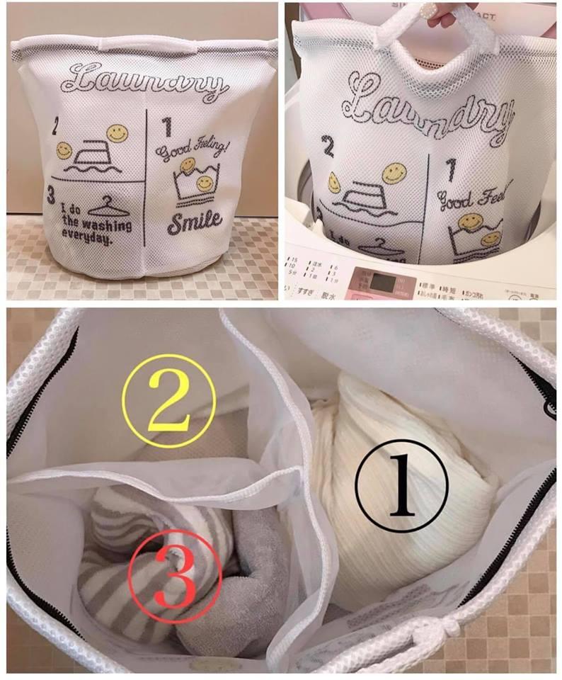 日本 3COINS 3分隔洗衣袋(微笑) 3格洗衣網*夏日微風* 0