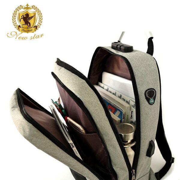 防水雙層密碼鎖防盜充電後背包包(可掛行李箱) NEW STAR BK259 6