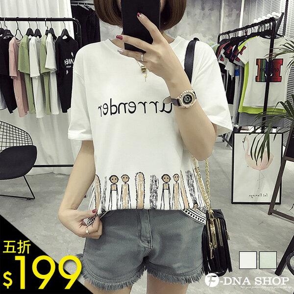 F-DNA★民族風下擺人偶圖騰短袖上衣T恤(2色-M-XL)【ETD2227】