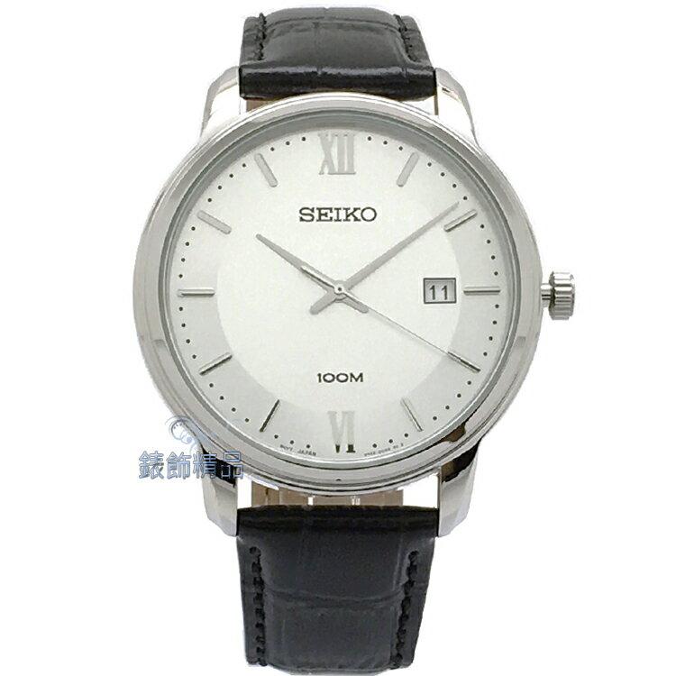 【錶飾精品】SEIKO手錶 精工表 品味卓越 白面日期 黑色壓紋皮帶男錶 SUR201P1 全新原廠正品 情人生日禮物