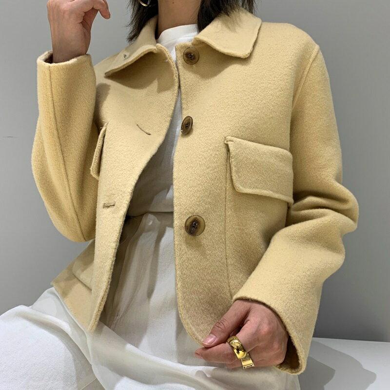 毛呢大衣羊毛外套-短款翻領純色寬鬆女外套2色73wb22【獨家進口】【米蘭精品】 2