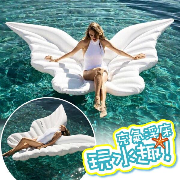 2017新款夏日戲水水上充氣浮床充氣浮排天使之翼
