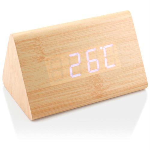 Modern Wood LED Wooden Alarm Digital Desk Clock Thermometer Timer Calendar  Bamboo (White Light)