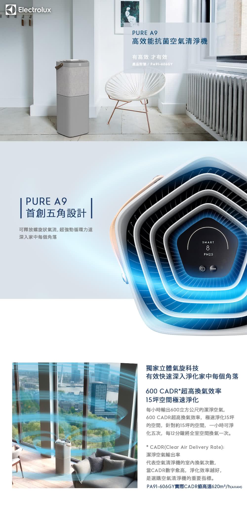 【伊萊克斯】(贈濾網)高效抗菌智能旗艦清淨機Pure A9(PA91-606DG 沉穩黑)