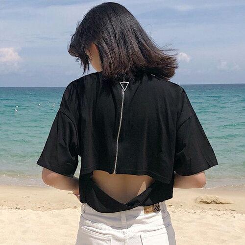 PS Mall 背後拉鍊露腰短版圓領短袖T恤【T648】 0