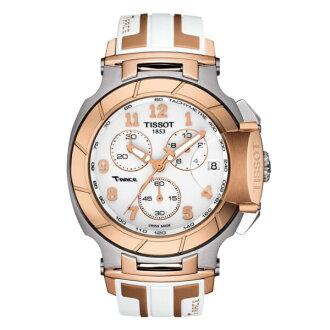 TISSOT天梭T0484172701200 T-RACE玫瑰金計時賽車腕錶/白面45mm