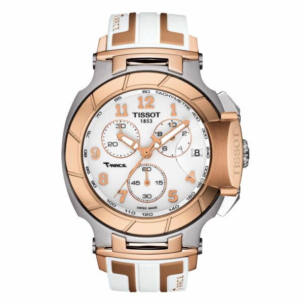 大高雄鐘錶城:TISSOT天梭T0484172701200T-RACE玫瑰金計時賽車腕錶白面45mm