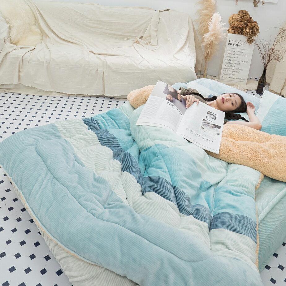 Sweet-Blue 羊羔絨暖被 內有充棉 可當棉被使用 150cmX195cm (正負5cm) 台灣製 3