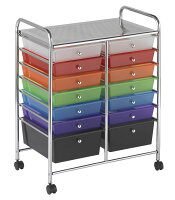 Offex 14 Drawer Mobile Organizer Assorted
