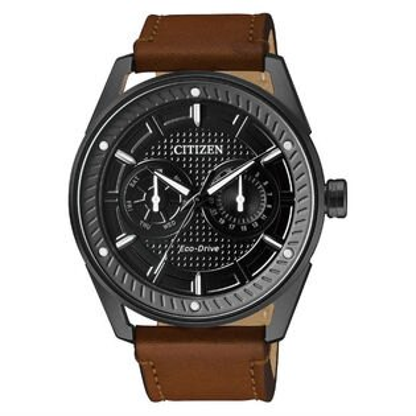 CITIZEN星辰錶BU4028-18E炫黑特色雙眼光動能腕錶黑面42mm