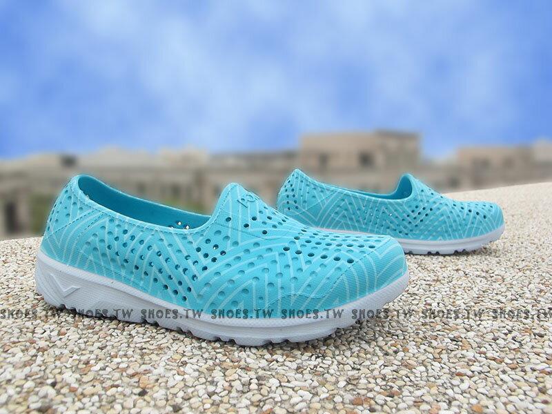《限時特價79折》Shoestw【62U1SA61PB】PONY TROPIC 水鞋 軟Q 防水 懶人鞋洞洞鞋 湖水藍 女生 親子