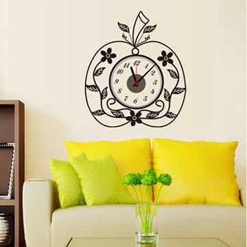 WallFree窩自在 韓版-新款DIY創意壁貼時鐘_SA-1-003蘋果花草(附靜音機芯)