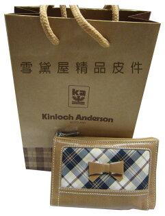 ~雪黛屋~KinlochAndereson零錢包英國專櫃鑰匙包100%進口牛皮+專利格紋緹花MKA60704