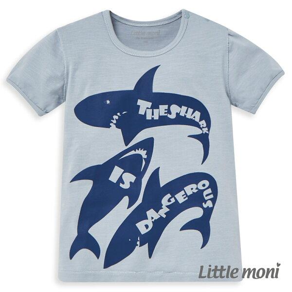 Littlemoni鯊魚印圖棉Tee-深天藍