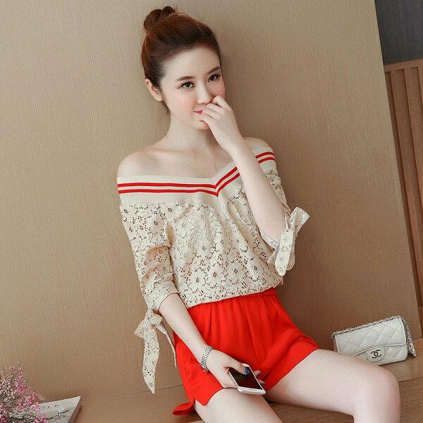 FINDSENSEG5韓國時尚夏裝蕾絲V領一字領露肩套裝短褲休閒兩件套
