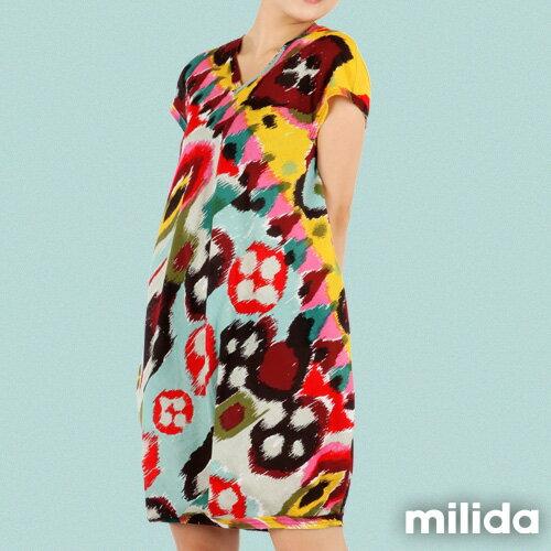 【Milida,全店七折免運】-夏季商品-拼貼款-氣質花苞版型洋裝 7