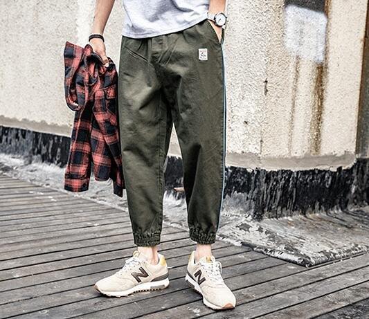 FINDSENSE MD 日系 街頭 復古 潮 男 時尚 休閒寬鬆 側滾邊拉鏈口袋 束口 九分褲 休閒長褲